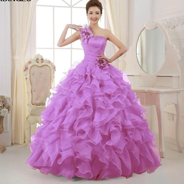 Organza One Shoulder Quinceanera Dresses