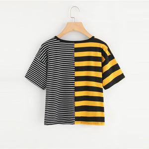 Contrast Striped Tee Shirt