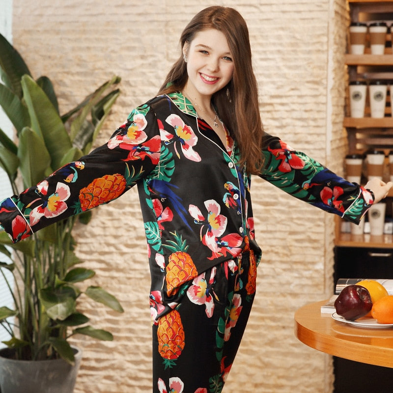 Women Silk Pajama Sets Elegant Flower Print