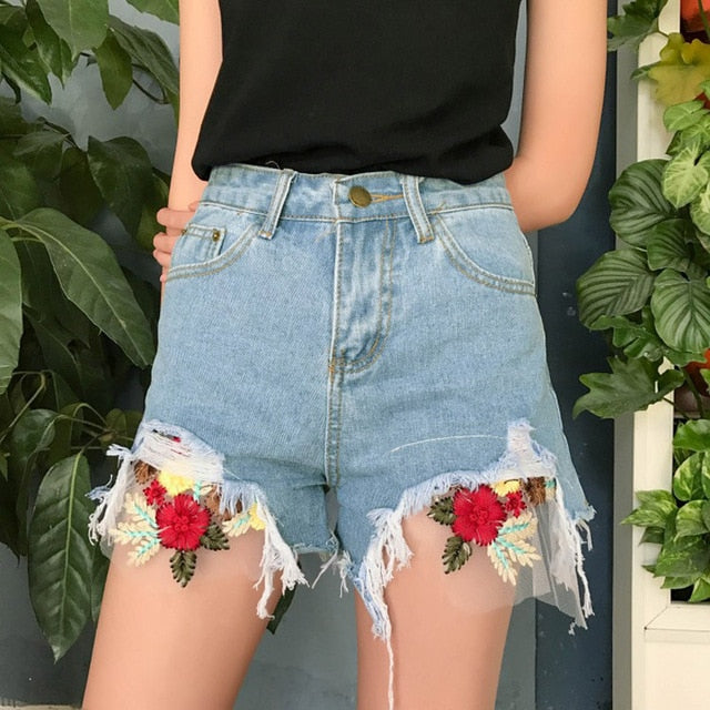 Denim Shorts Floral Embroidery Frayed Ripped