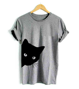 cat looking out side Print t shirt For Lady Girl Top