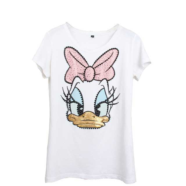 Summer Short Sleeve Sequined Donald Duck Print - Narvay.com