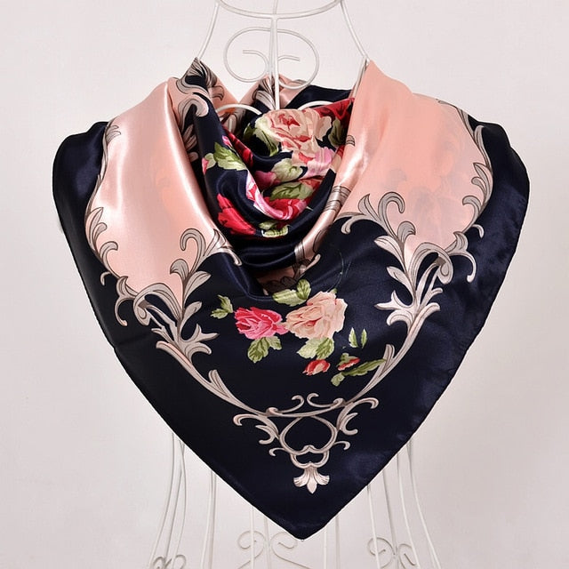 Blue Roses Large Square Scarves