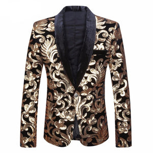 Black Velvet Gold Flowers Sequins Suit