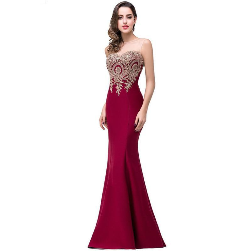 Backless Appliques Burgundy Mermaid Long - Narvay.com