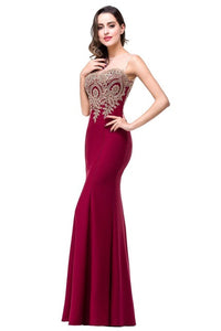 Backless Appliques Burgundy Mermaid Long