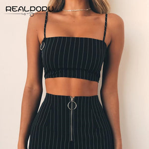 Casual Striped Camisole Slash Neck