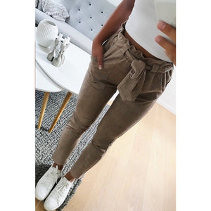 women suede pants style ladies Leather bottoms