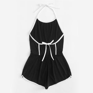 Black Halter Sleeveless Playsuits Romper