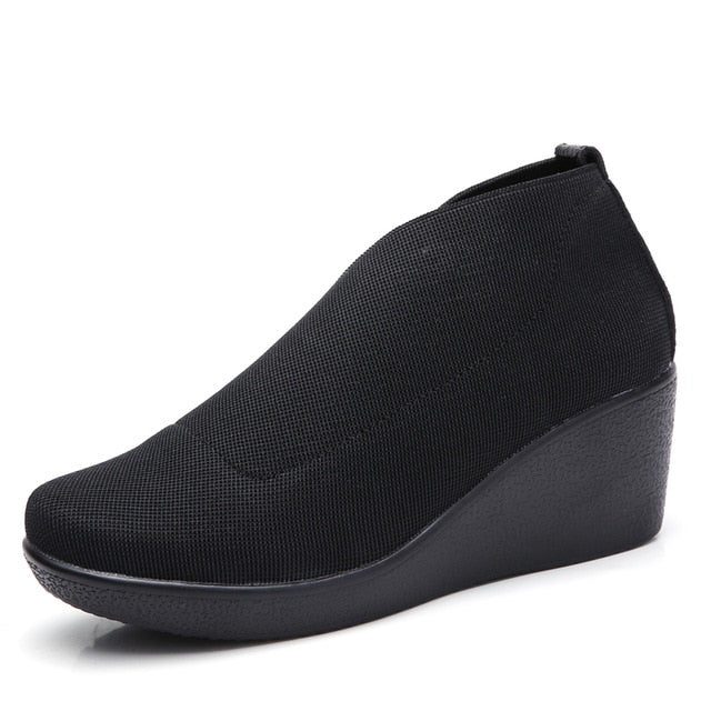 Women Loafers Black Fabric Creepers Female