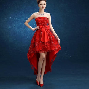 Red Off Shoulder Applique Ankle-Length Evening