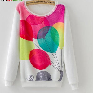 Casual Love Heart Elephant Print Pullover