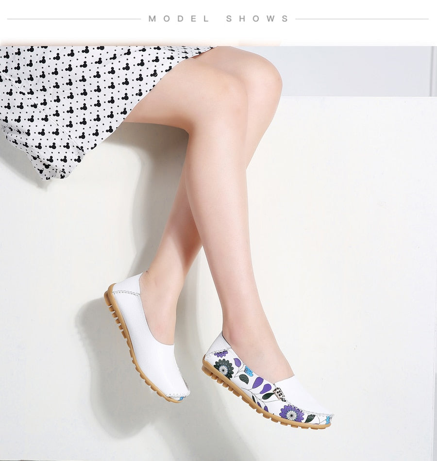 women flats print shoes moccasins loafers