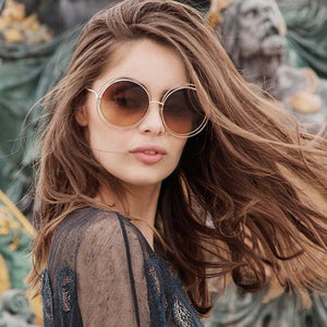 Metal Frame Lady Sun Glasses