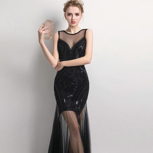 Sexy Black Sequins Beaded Bridesmaid