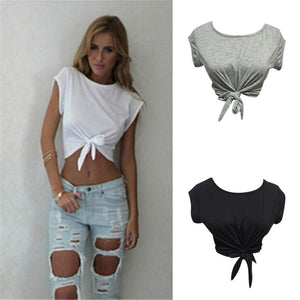 Women Knotted Tie Front Crop Tops