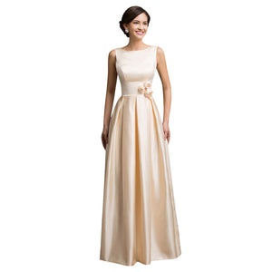Shoulder Long Satin Evening Dress Gown Sleeveless - Narvay.com