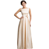 Shoulder Long Satin Evening Dress Gown Sleeveless