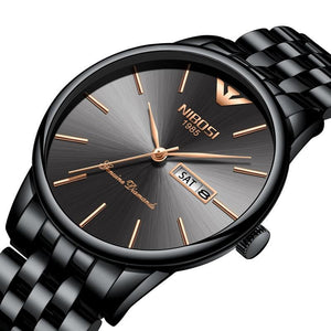 Luxury Date Week Watch Men Waterproof Black - Narvay.com