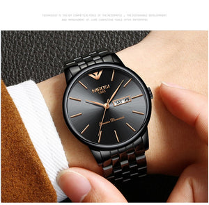 Luxury Date Week Watch Men Waterproof Black
