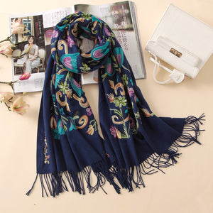 embroidery cashmere scarves vintage winter
