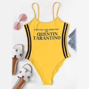 Slogan Print Striped Side Bodysuit