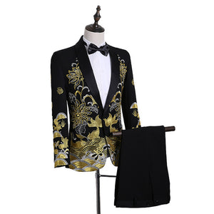 Shawl Lapel Embroidered Prom Suits
