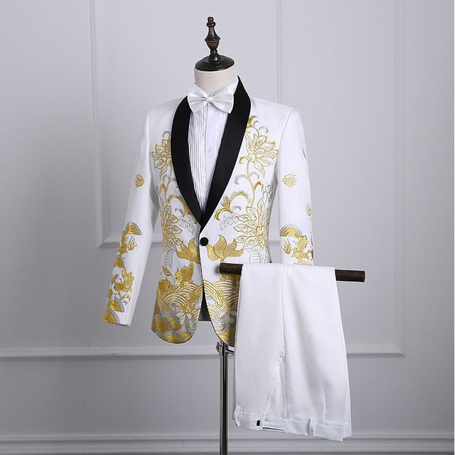 Shawl Lapel Embroidered Prom Suits - Narvay.com