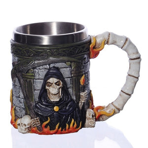 Viking Warrior Skull Mug