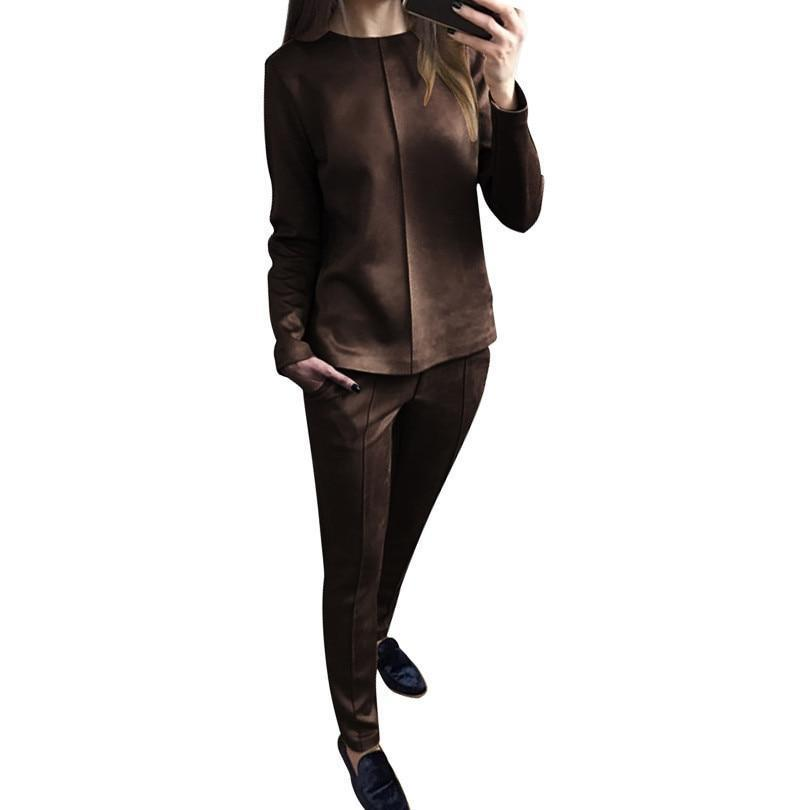 Women's Autumn Suede Tracksuit