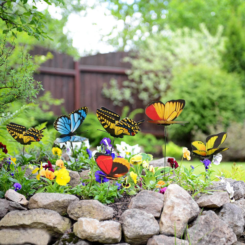 Butterfly On Sticks Home Yard Lawn Flowerpot