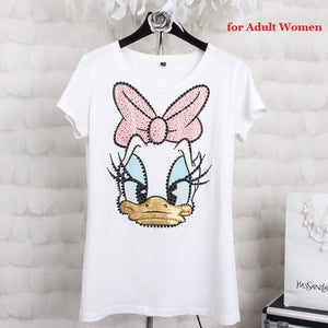 Summer Short Sleeve Sequined Donald Duck Print
