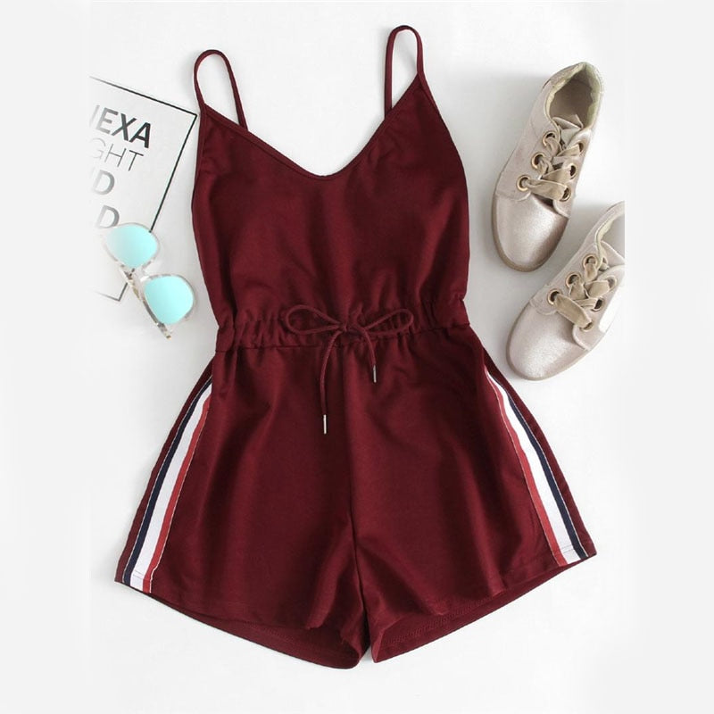 Contrast Striped Tape Drawstring Romper