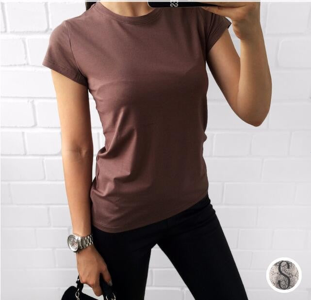 Plain T Shirt Women Cotton Casual Tops