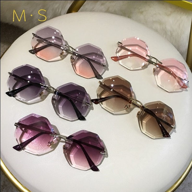 gradient brown pink rimless sun glasses