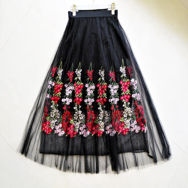 Flowers embroidery net yarn half skirt