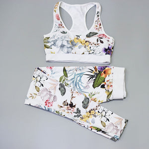 Flower Leaves Printed Fitness Set Suit Women's