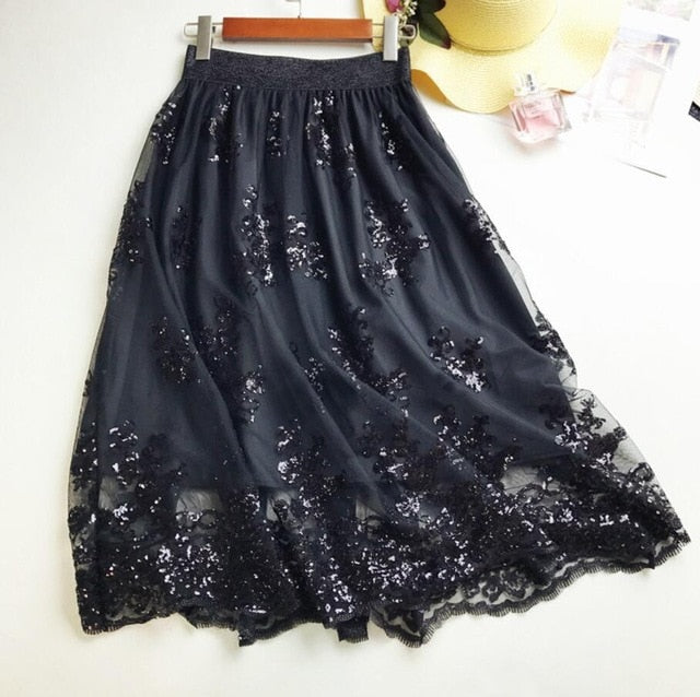 Middle Long Calf Elastic Force Skirt