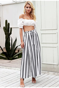 High waist loose striped summer pants