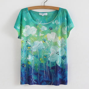 Styles Floral Print O-Neck T Shirt Casual