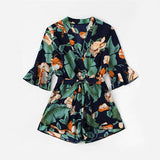 Fluted Sleeve Floral Print Surplice Romper