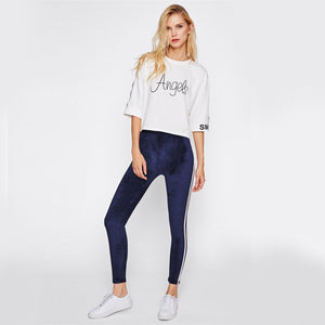 Side Striped Casual Velvet Leggings - Narvay.com