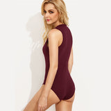 Crew Neck Sleeveless Bodysuit