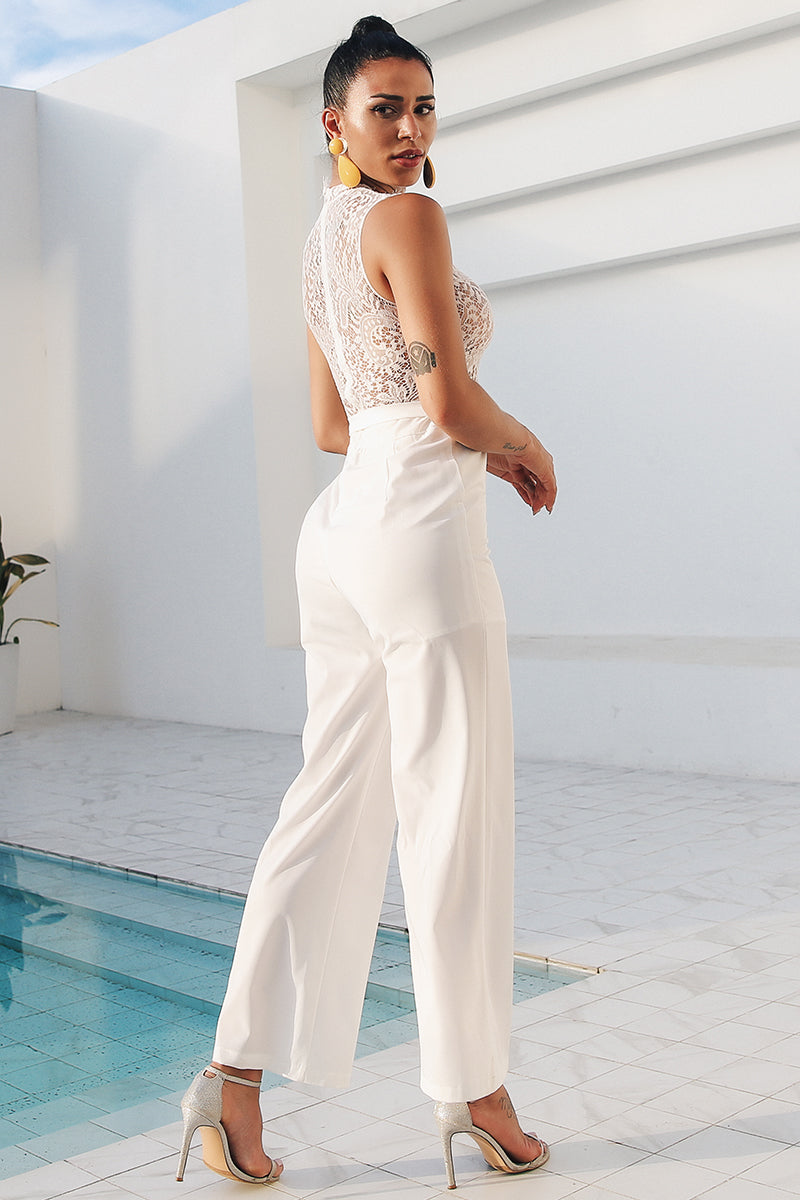 d182941e958 Buy White lace transparent fringe jumpsuit Online – Narvay.com