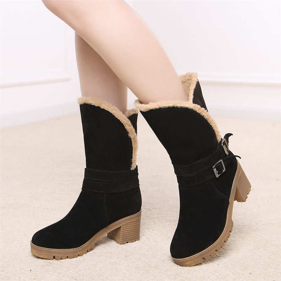 Square High Heels Round Toe Shoes