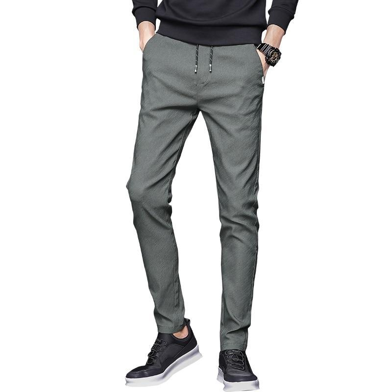 Summer Mens Stretch Pants Korean Casual Slacks Slim Straight Fit Elastic Waist Jogger Chino Dress Trousers Male Black Blue Green