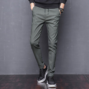 Summer Mens Stretch Pants Korean Casual Slacks Slim Straight Fit Elastic Waist Jogger Chino Dress Trousers Male Black Blue Green - Narvay.com