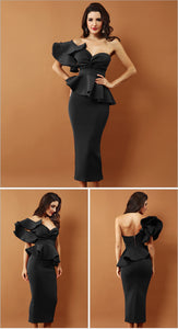 One Shoulder Ruffles Strapless Dress