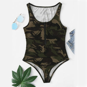 Camo Print Zip Up Front Bodysuit