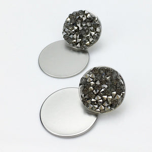Rhinestones Round Metal Dangle Earrings